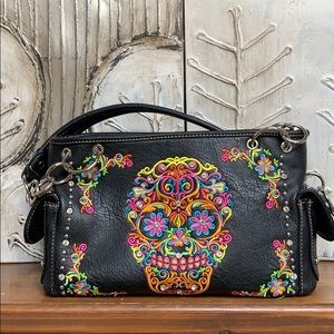Montana West black sugar skull embroidered purse